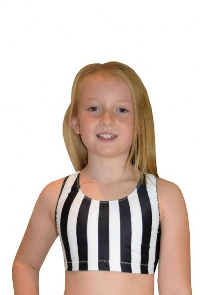 EARL422 Black and white striped Crop Top with Racer Back  From £17.95